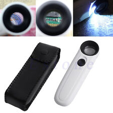 40X Magnifier Handheld Reading Magnifying Glass Lens Jewelry Loupe 2 LED Light