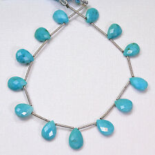 Sleeping Beauty Turquoise Faceted Pear Briolette 7.5 inch strand