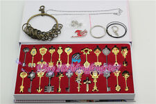 Fairy Tail 24 pcs of keys Lucy heart keychain Necklace Pendant Cosplay set New