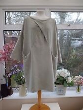 *PIAZZA ROMA* LAGENLOOK QUIRKY ARTY SLOUCH DRESS GREY SWEAT SHIRT COTTON ONESIZE