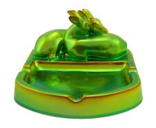 Zsolnay Iridescent Eosin Dish With Resting Deers