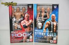 BANDAI S.H.FIGUARTS WWE THE ROCK & STONE COLD STEVE AUSTIN ACTION FIG. SET OF 2