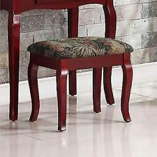 Vanity Table Stool Set Wood Cherry Finish Makeup Drawer Storage Traditional