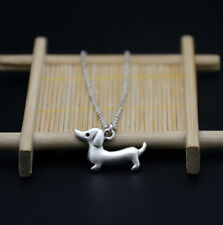 Small Dachshund Dog Canine Collection Silver Tone Fashion Pendant Necklace