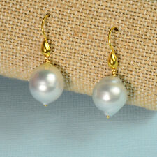18k Solid Yellow Gold 11mmx12.5mm South Sea White Pearl Earrings