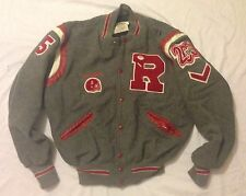Delong Varsity #5 Letterman Quarterback Jacket Wool Gray Bulldogs Large 2006