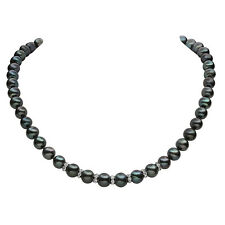"Lily Treacy Black Freshwater Pearl Strand Necklace 18"" Wedding Mother of bride"