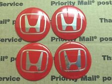 Honda 4Pcs Red 60mm Car Emblem Badge Wheel Center Hub Cap Decals Stickers 60 mm