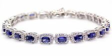Sterling Silver Tanzanite And Diamond 14.86ct Tennis Bracelet (925)