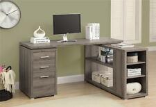 Corner L-Shaped Computer Desk Workstation Taupe Finish Reclaimed Look Drawers