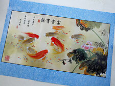 """CHINESE 37""""x25"""" KOI CARP PAINTING MURAL WALL POSTER JAPANESE PICTURE PRINT ART"""