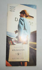 GERMANY KOLN BONN AIRPORT FLUGHAFEN DUTY FREE SHOP PRICE LIST 1963 / 1964