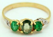 Natural Alexandrite & Emerald Ring 10k Yellow Gold * FREE SHIPPING & APPRAISAL *
