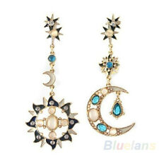 Rhodium Gold Plate Boho Mismatched Celestial Sun Star & Moon Rhinestone Earrings