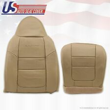 2001 Ford F250 F350 Lariat Driver Bottom & Top Leather Seat Covers Parchment TAN