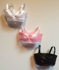 Barbie Doll Lingerie Lot Of 3 BRAS WHITE PINK & BLACK Lace Trim Brassieres
