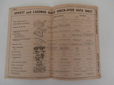 JOWETT JAVALIN. LAGONDA V12.  LG.6  .quick check over data guide sheet