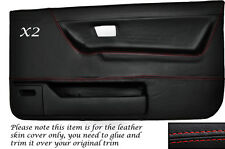 RED STITCH 2X FRONT DOOR CARD SKIN COVERS FITS VW GOLF MK2 JETTA 83-92 3DR