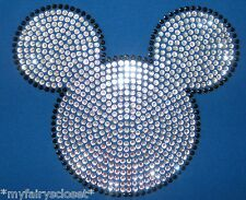 "7.6"" clear Mickey Mouse iron on rhinestone transfer for shirt applique patch"