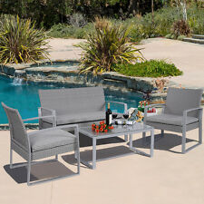 Durable 4PC Patio Furniture Set Cushioned Outdoor Wicker Rattan Garden Lawn Sofa