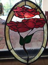 LEADED STAINED Texture GLASS Blooming Red Roses Floral WINDOW