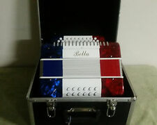 New Bella Brand Red White and Blue color 31 x 12 Button Accordion with case