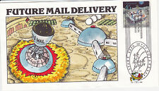 COLLINS HAND PAINTED FIRST DAY COVER FDC 1989 FUTURE MAIL DELIVERY SPACE ROCKET