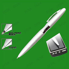 2 in 1 Ball Point Pen & PDA Stylus, Works on any PDA, Silver Pen with Black Ink