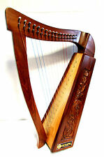 27 Inch Celtic Irish Harp 17 Strings Solid Wood Free gig Bag, Extra Strings New