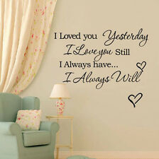 Removable Vinyl Wall Stickers Always Love Quote Word DIY Home Art Decal Decor