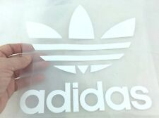 ADIDAS LOGO WHITE IRON ON PATCH SPORTS LOGO DIY CLOTHING 20 X 20 CM POLY FLEX PU