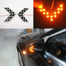 2 x Yellow Arrow Panel Led Light Wing Mirror Rear View Mirror Turn Signal Lights