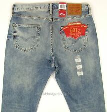 Levis 501 CT Jeans Mens Button Fly SZ 34 x 32 LIGHT BLUE DISTRESSED Tapered Leg