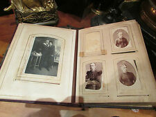 ancien album photos cdv et cabinet cuir decor floral epoque 1900