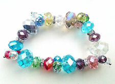 Multicolour Crystals Clear Rondelle Spacer Elasticated Bracelet