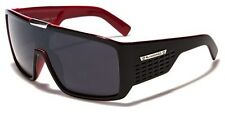Biohazard Goggle Style Mens Designer Sunglasses Metal Detail on Center