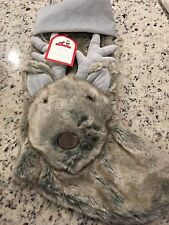 Pottery Barn Kids Faux Fur Gray Reindeer Christmas Holiday Santa Stocking