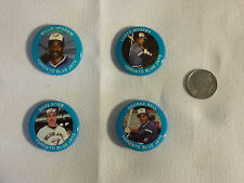 4 BLUE JAYS 1984 Fun Foods Baseball Buttons - George Bell, Stieb, Moseby, Upshaw