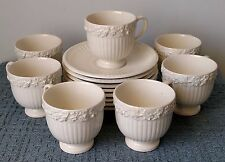 Wedgwood Embossed Queens Ware ~ 7 FOOTED DEMITASSE CUPS and 8 SAUCERS