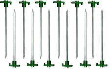 "New 12pc Heavy Duty STEEL Metal Tent Canopy Stakes Pegs 10"" - Green Stopper"
