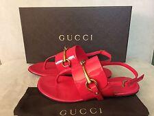 NWB Gucci Ursula Shocking Pink Patent Leather Thong Flat Sandal IT 4.5, US 4.5
