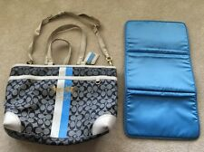 Authentic COACH Heritage Lrg Diaper Bag L0873-13191 Cream, Gray and Baby Blue