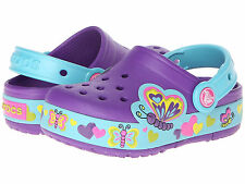 New Crocs LIGHT UP Butterfly Clogs Shoes Sandals Sneakers Blue/Purple Girl 12