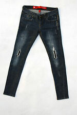 Yes! Miss Studded Blue Jeans Denim Skinny Slim Strech Faded S W27-28 uk10