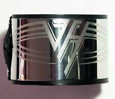 Van Halen Stainless Steel Black Leather Bracelet Wristband buckle adjustable