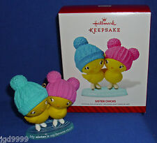 Hallmark Ornament Sister Chicks 2014 Ice Skating Baby Chickens NIB Free Shipping