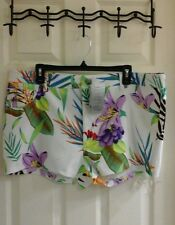 NWT, Last Exit women's plus size 3x white multi color shorts Hawaiian floral