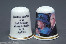 """SPECIAL OFFER"" The Queen & The Irish President China Thimble B/132"
