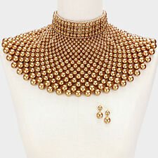 CLEOPATRA QUEEN PEARL BEADS COLLAR CHOKER BIB NECKLACE GOLD EGYPTIAN WEDDING
