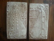 2 Art Deco Nouveau lady architectural plaster pediment wall decor plaques new